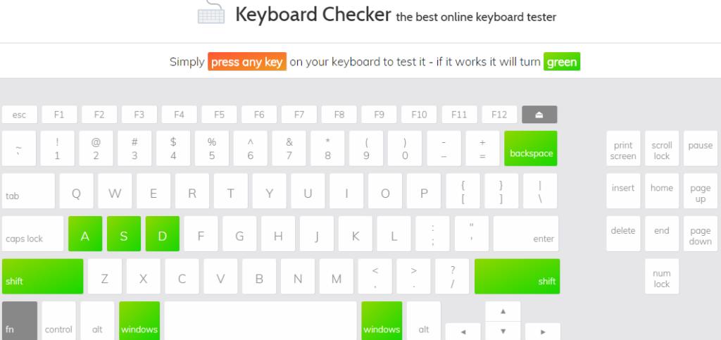 test bàn phím với trang web keyboard checker