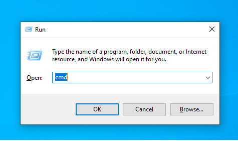 mở command Prompt để kiểm tra pin laptop